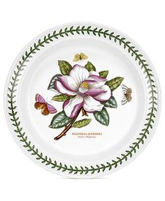 Portmeirion 'Botanic Garden' Dinner Plate in Asiatic Magnolia (Magnolia altissima) Earthenware, Stoneware, Portmeirion Pottery, William Ellis, China Plates, Deep Dish, Dinner Plates, Botanical Gardens, Flower Designs