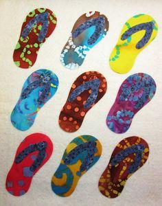 Set of 9 Batik Flip Flops Iron-on Cotton Fabric Appliques for Quilts Apparel Etc…