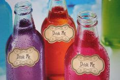 'Drink Me' tags for your Alice in Wonderland spread - from Etsy