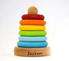 Personalized Stacking Toy - Rainbow Wooden Toy - Ring Stacker - Natural Wood Toy