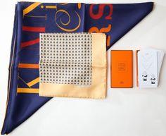 Set of Three: #Hermes A.M. Cassandre Silk Scarf,  Hermes Ostrich Silk Pocket Square Scarf, Hermes Scarf 'Knott.