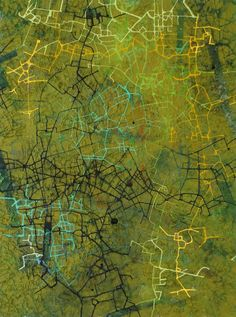 Stanza Abstract Painting - City Of Hope - British Abstract Oil Cityscape Mapping Green 2014 Impressionist Landscape, Abstract Landscape Painting, Abstract Oil, Landscape Paintings, Abstract Paintings, True Art, Contemporary Landscape, Art Oil, British