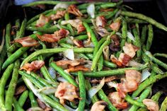 Grilled Fresh Green Beans #grilled #Green Beans #justapinchrecipes Side Dish Recipes, Vegetable Recipes, Green Beans With Bacon, Grilling Sides, Veg Dishes, Summer Side Dishes, Mushroom And Onions, Green Bean Recipes, Vegetable Side Dishes