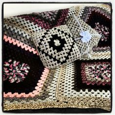 #crochet pillows and blanket on my living room couch