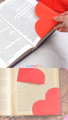 What a wonderful Valentine heart corner bookmarks can be, and you can even make them super personal by scribbling a special little note on them. Diy Crafts Hacks, Diy Crafts For Gifts, Diy Home Crafts, Diy Arts And Crafts, Creative Crafts, Fun Crafts, Crafts For Kids, Diy For Kids, Bookmark Craft