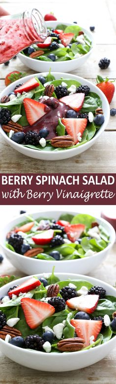 Berry Spinach Salad drizzled with a Berry Balsamic Vinaigrette. Loaded with berries, pecans and goat cheese. Takes less than 15 minutes to throw together!