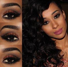 Makeup Tutorial By @by_thamires. #Brown #Beauty #PeleNegra #Glitter #Maquiagem #Nude #Matte #Lipstick #BlackHair #Batom