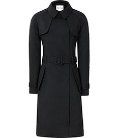 Julia Lux Navy Wool-blend Trench Coat - REISS