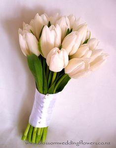 white tulips bouquet wedding - Google Search