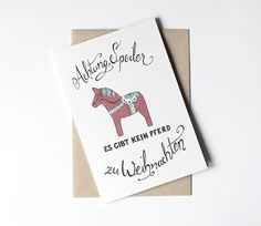 Weihnachtskarten - Weihnachtskarte mit Pferd - ein Designerstück von lumilarie bei DaWanda