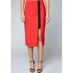 Bebe Women's Cutout Slit Skirt (4.965 RUB) ❤ liked on Polyvore featuring skirts, true red, cut out pencil skirt, zipper slit skirt, red skirt, slit skirt and bebe