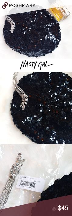 NEW• NEW • \\Nasty Gal// Black Minx Sequin beret ::: classic done right :: brand new ::: stretchy ::: no imperfections ::: NEW with original packaging :: Limited Nasty Gal Edition ::: Genuine NG ::: Cotton /// Spandex /// Sequins• Nasty Gal Accessories Hats