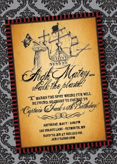 Pirate Party Invitation!  So cute!