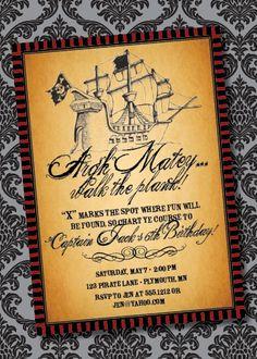 Pirates of the caribbean birthday most popular invitation suites diy printable pirate birthday invitation filmwisefo
