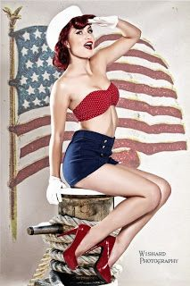 Red white and blue pin up calender girl -  ( inspiration from blossomgraphicdesign.com )