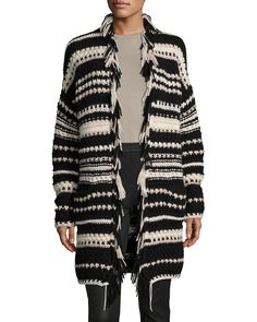 Iris Von Arnim Hand-Knit Long Open Cardigan, Black Pattern