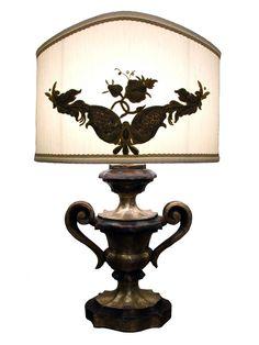 Lampada da tavolo legno in legno argentato - Epoca: XX Secolo