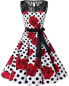 4da6cbcf5e4 Bbonlinedress Vintage rétro 1950 s Audrey Hepburn Robe de Soirée Cocktail  sans Manches avec Dentelle année 50 Rockabilly White Rose Black Dot XL