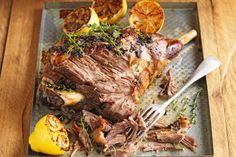 Slow-roasted lamb with skordalia WINNER! This signature Mediterranean lamb dish is a 'shear' delight to the senses! Irish Recipes, Lamb Recipes, Greek Recipes, Meat Recipes, Slow Cooker Recipes, Cooking Recipes, Recipies, Savoury Recipes, Crockpot Meals