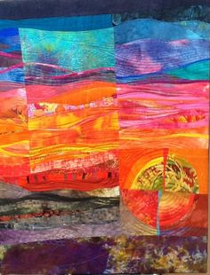 Desert nightfall. Machine pieced and quilted. Gallery mounted. 21 x 32 x 2 inches