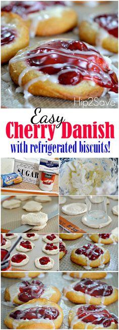 Dessert Simple, Dessert Party, Easy Cherry Danish Recipe, Cherry Danish Recipe Crescent Rolls, Cherry Cheese Danish Recipe, Cream Cheese Danish, Pillsbury Biscuit Recipes, Pillsbury Danish Recipe, Biscuit Dough Recipes