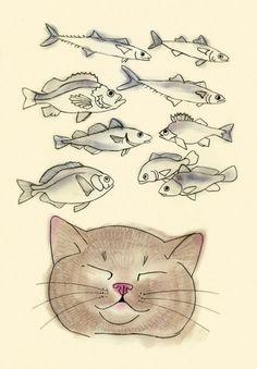 Cat Art print. I heart fish.