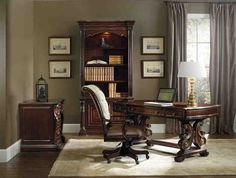 The luxurious Grand Palais writing desk from Hooker Furniture features bold European styling, dramatic design and exquisite details. Part of Art & Home's Home Office Furniture collection. Luxury Office Chairs, Modern Home Office Furniture, Executive Office Furniture, Home Office Chairs, Home Office Decor, Home Decor, Office Ideas, Business Furniture, Executive Chair