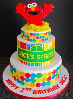 Elmo cake with stripes & polka dots. Minus the big Elmo on top. Elmo Birthday Cake, Elmo Cake, Themed Birthday Cakes, Themed Cakes, 2nd Birthday, Birthday Ideas, Sesame Street Cake, Sesame Street Birthday, Fancy Cakes