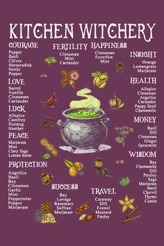 An introduction to the craft of kitchen witchery, magical herbs and some simple spells, practices and tips. Witchcraft Herbs, Green Witchcraft, Magick Spells, Luck Spells, Healing Spells, Spells For Beginners, Witchcraft For Beginners, Wiccan Spell Book, Wiccan Witch