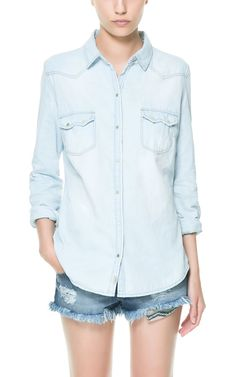 DENIM SHIRT WITH FLAP POCKETS - Shirts - TRF - ZARA Canada