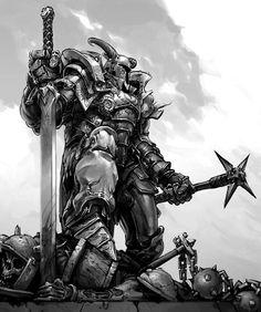 last man stand Fantasy Art Warrior, Fantasy Armor, High Fantasy, Medieval Fantasy, Fallout Tattoo, Character Art, Character Design, Dark Men, Knight Armor