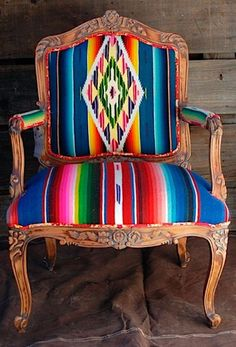 Serape recovered chair. In. LOVE. Photo ddranchwear.com by oldrose