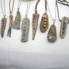 {Looking forward to our show of the year junk market in Fargo, ND May and bringing a new line of driftwood necklaces created this past month. jtmauidesigns mnjewelry wirewrap copperjewel…More Driftwood Jewelry, Driftwood Crafts, Wooden Jewelry, Stone Jewelry, Wire Jewelry, Custom Jewelry, Jewelry Crafts, Jewelry Art, Jewelery