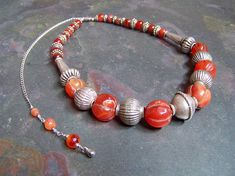 Old Silver Bead Necklace  Tibetan Carnelian by FirstAgeSilver