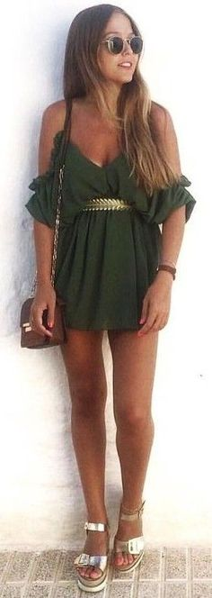 #summer #desert #outfits |  Olive Green Romper + Touch Of Metals