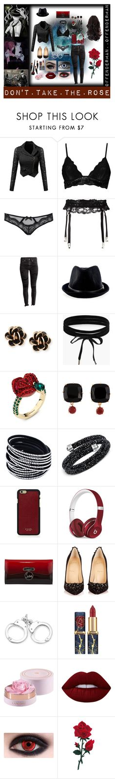 """""""Offenderman"""" by laughingjacksdaughter ❤ liked on Polyvore featuring Boohoo, L'Agent By Agent Provocateur, La Perla, Chantecler, Atelier Swarovski, Les Néréides, Swarovski, Vianel, Beats by Dr. Dre and Christian Louboutin"""