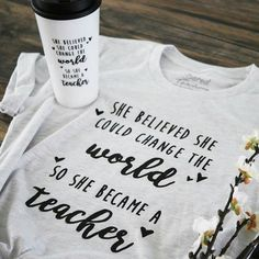 Change the World T-shirt – Bored Teachers Source by themintmaisy teacher outfits Teaching Shirts, Teaching Outfits, Preschool Teacher Shirts, Teaching Clothes, Bored Teachers, Shirts For Teachers, Teacher T Shirts, Teachers Week, Teacher Appreciation Week