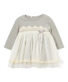 Look what I found on #zulily! Gray Lace Babydoll Top - Infant & Toddler #zulilyfinds