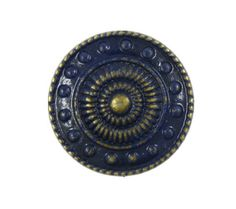 Navy Blue Painted Wheel and Beads Metal Shank Buttons in Nickel Silver Color - 15mm - 5/8 inch