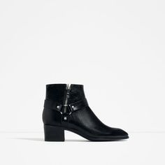 LEATHER HIGH HEEL ANKLE BOOTS WITH DETAIL