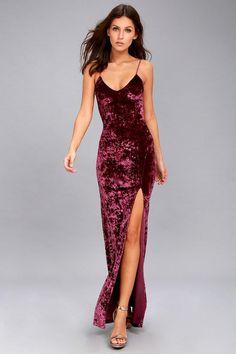 #Lulus - #Lulus Lulus - Supernatural Love Burgundy Crushed Velvet Maxi Dress - Size X-Large - Red - AdoreWe.com