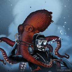 Image result for giant octopus attacking diver