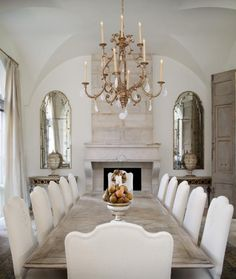 Formal dinning room French Country Dining Room, Farmhouse Dining Room Table, Dining Chairs, Dining Area, Room Chairs, Rustic Table, Fabric Chairs, Dining Decor, Dining Sets