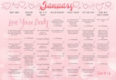 Tone it Up Love Your Body January Calendar @Tone G It Up Karena & Katrina #LoveYourBody