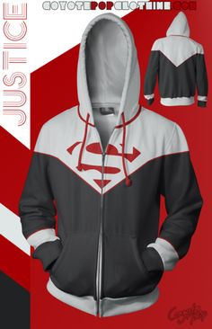DC Comics: Justice Hoodie! Zip Hoodie, Motorcycle Jacket, Dc Comics, Hoodies, Jackets, Collection, Fashion, Down Jackets, Moda