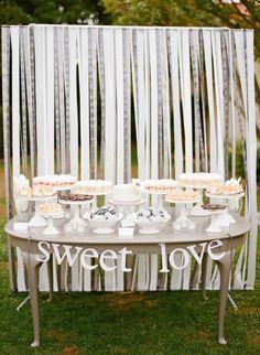 REVEL: White Ribbon Backdrop + dessert table