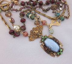Triple Wrap Repurposed Necklace Vintage Czech by jryendesigns, $184.00