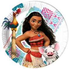 Bring their sea-faring favourites to the party with these characterful Moana party plates! Made from laminated paper, the colourful plates feature detailed artwork of Moana, Pua and Hei Hei.