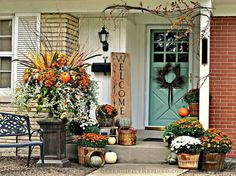 Fall decor begins with the front door and we've got 23 of the best fall front porches to inspire creativity. Fab ideas for your best fall front porch yet! Autumn Decorating, Porch Decorating, Decorating Tips, Fall Decorating Ideas For The Porch Front Doors, Mums In Pumpkins, Small Front Porches, Small Patio, Deco Floral, Front Door Decor