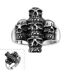US# 8-11 Lureme Punk Gothic Rock Style Stainless Steel Skull Cross Antique Silver Black Rings for Boys and Men Fashion Jewelry
